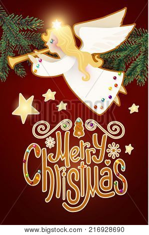 Merry Christmas Cute Background with Angel Playing the Trumpet, Christmas Candy Lettering, Fir Tree Branches, Snow and Lights.