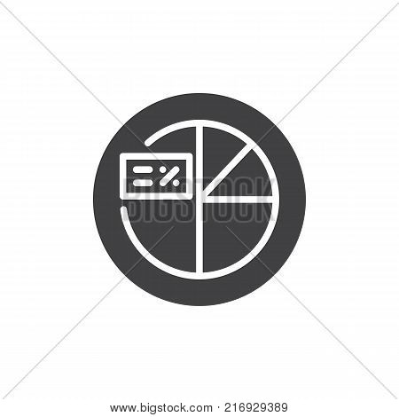 Pie chart with percent cart icon vector, filled flat sign, solid pictogram isolated on white.  Percentage graph symbol, logo illustration.