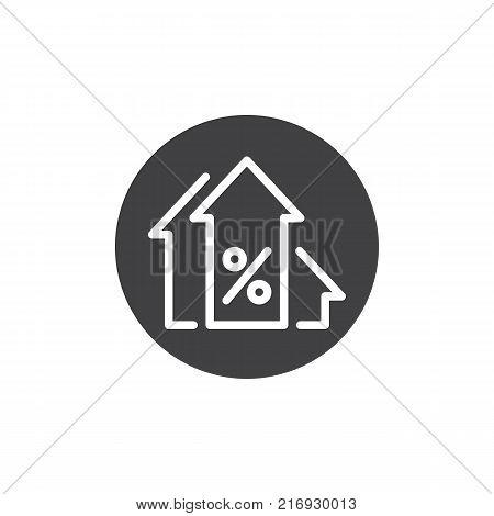 Percentage up arrows icon vector, filled flat sign, solid pictogram isolated on white. Profits arrow symbol, logo illustration.