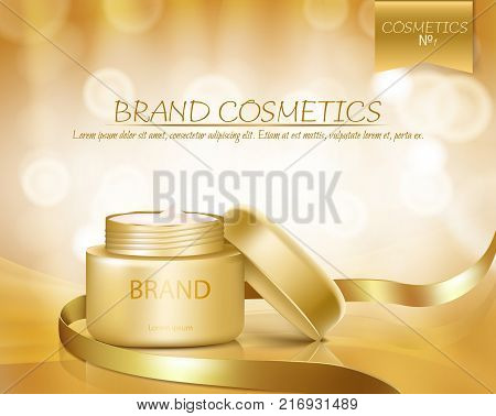 Gold jar with open lid is full of cosmetic cream on golden background with golden ribbon and bokeh, vector realistic. Template mock up for branding to promote luxury nourishing anti-aging facial cream