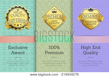 Exclusive award 100 premium high end quality golden labels set of logos design on colorful posters with text vector illustrations collection