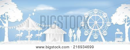 Happy Family in Amusement park with ferris wheel and carousel paper art style paper cut background