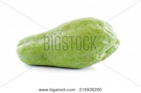 Chayote isolated close up on white background