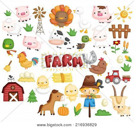 Farm Animal Vector Set with many animal inside
