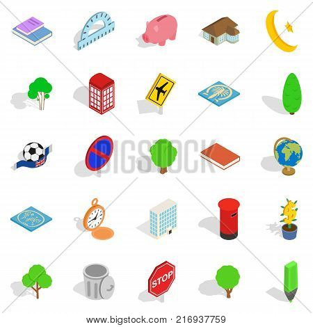 Business center icons set. Isometric set of 25 business center vector icons for web isolated on white background