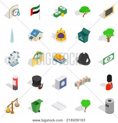 Financial capital icons set. Isometric set of 25 financial capital vector icons for web isolated on white background