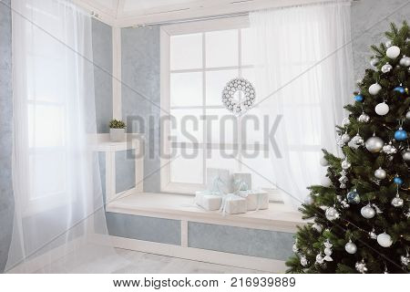 Bright interior, window with curtains, white window sill, christmas tree, window and gifts
