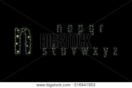 Alphabet Letters From Glittering Green Stars