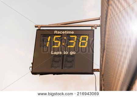 Stock picture of race clock at a race track
