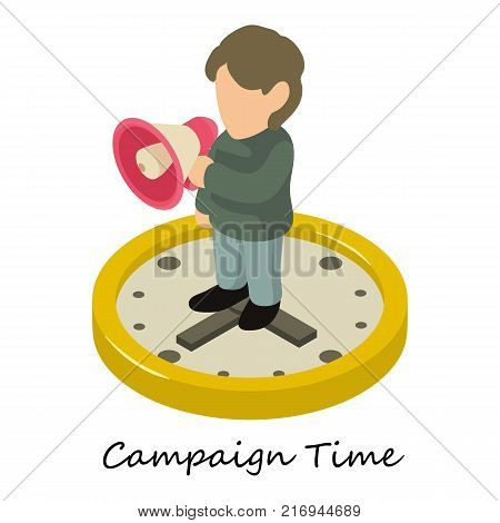 Campaign time icon. Isometric illustration of campaign time vector icon for web