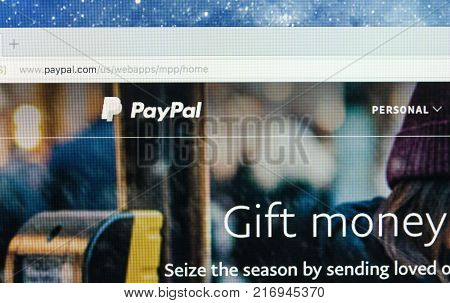 Sankt-Petersburg Russia December 5 2017: Paypal website homepage on a Apple iMac monitor screen. PayPal is an international e-commerce business allowing payments and money transfers.