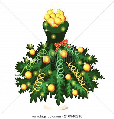 Green dress in style of Christmas and New year decorated with fir tree branches with ornaments and baubles, hanging on a hanger, isolated on white background. Vector cartoon close-up illustration.