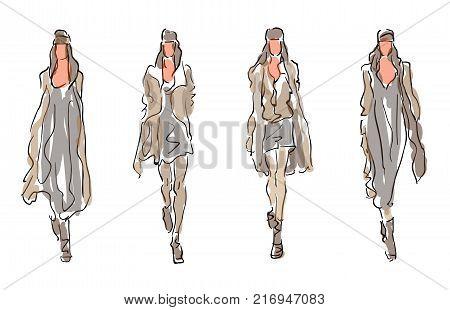 Sketched Fashion Models - fashion vector illustration