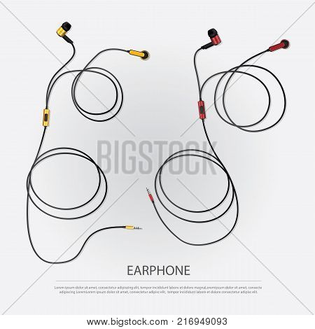 Music Earphones Gadget with Telephone vector illustration