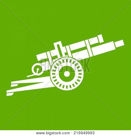 Artillery gun icon white isolated on green background. Vector illustration