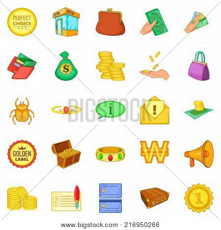 Ready cash icons set. Cartoon set of 25 ready cash vector icons for web isolated on white background