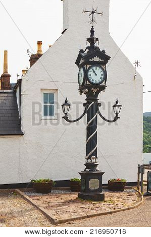 Historical street clock in Ullapool in Scotland. North west Scotland in United Kingdom.