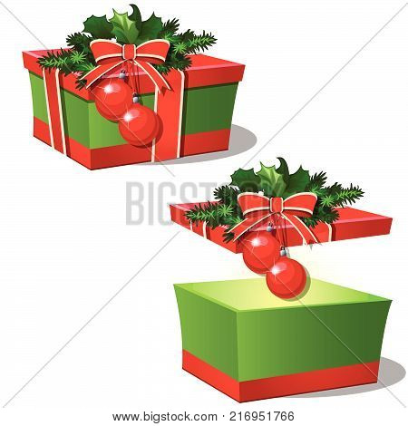 Set of ornate gift boxes with red lid tied with ribbon bow decorated with Holly leaves and Christmas baubles isolated on white background. Idea of packing gift. Vector cartoon close-up illustration
