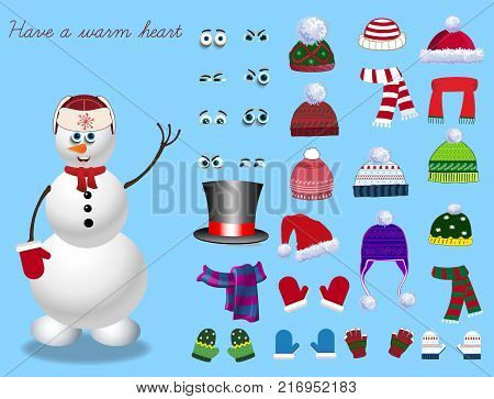 Set for creation cute cartoon snowman character. Christmas and new year set for creating snowman. Eyes emotions hats scarves mittens. Cute winter clothes for snowman. Vector illustration template