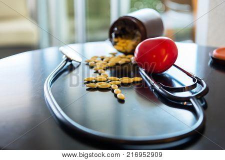 Close-up Medicine headphones heart.Heart disease drugs, Drugs for Heart Disease