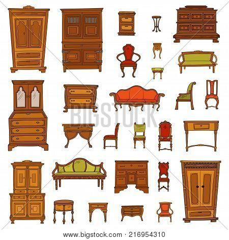 Color antique furniture set: closet, nightstand, closet, chairs, nightstands and bureaus isolated on a white background. Vector hand drawn retro collection. Sketch style.