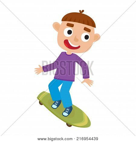 Summer activity skateboarding concept. Vector illustration of skateboarder boy riding on skateboard in cartoon style isolated on white background. Summer break, boy having free time. Happy child.