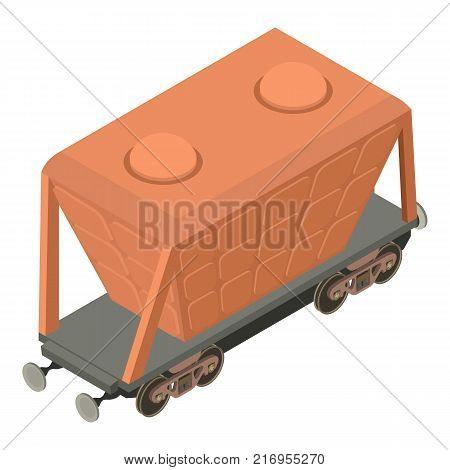 Wagon transport icon. Isometric illustration of wagon transport vector icon for web