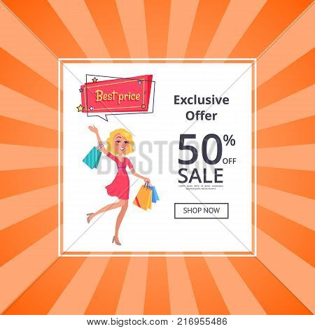 Exclusive offer 50 percent sale poster with online button shop now and woman with shopping bags in hands, dressed in red gown, vector illustration