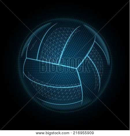 Vector image of a volleyball ball made of illuminated shapes. Sport illustration consisting glowing lines points and polygons in the form of a ball for beach volley. Abstract 3D neon wireframe concept.