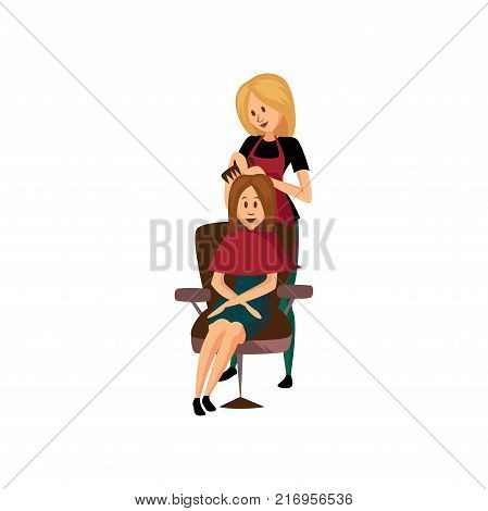 Female hairdresser combing young woman, professional hair stylist at workplace cartoon vector Illustration on a white background