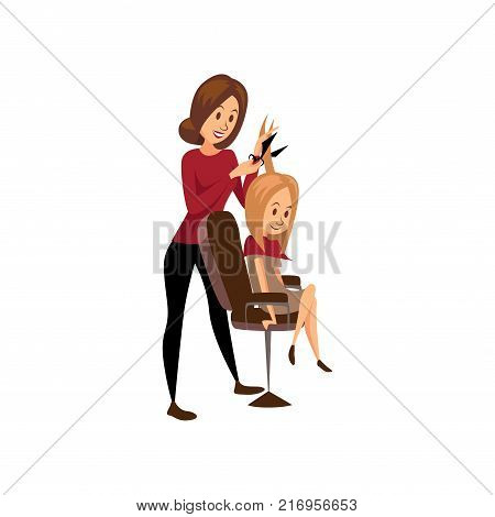 Female hairdresser cutting hair of young woman, professional hair stylist at workplace cartoon vector Illustration on a white background