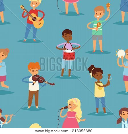 Music kids vector cartoon characters set of children singing or playing musical instruments guitar, violin and flute in childhood kiddy illustration seamless pattern background.