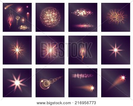 Twelve different light effects on transparent background. Vector illustration of abstract and radiant, wavy and fading shine actions.