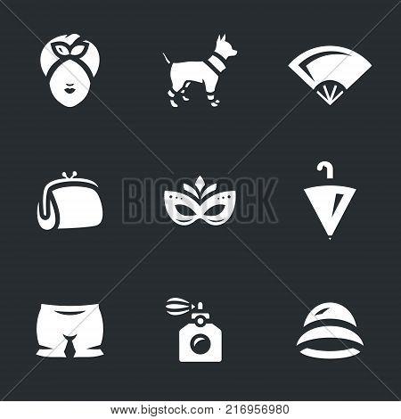 Lady, dog, fan, handbag, mask, umbrella, pantaloons, perfume, hat.