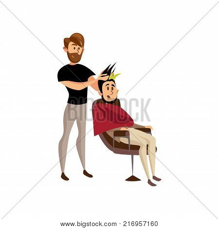 Male hairdresser serving client, professional hair stylist at workplace cartoon vector Illustration on a white background