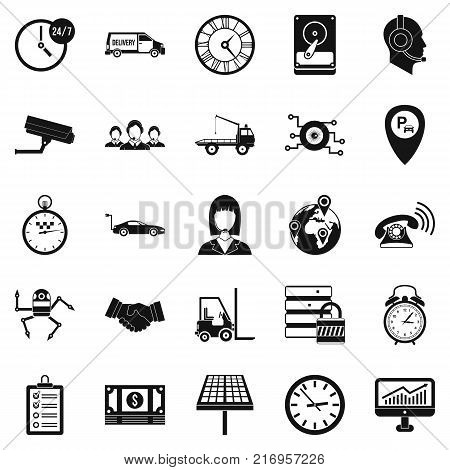 Working hours icons set. Simple set of 25 working hours vector icons for web isolated on white background