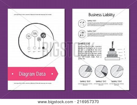 Diagram data and business liability posters depicting charts and diagrams with percentage, additional information and icons vector illustration