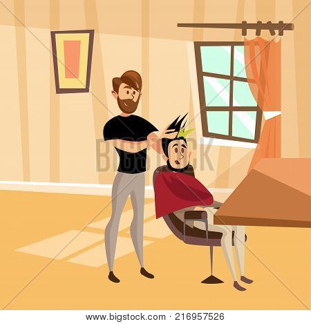 Male hairdresser serving client in barbershop, professional hair stylist at workplace cartoon vector Illustration, web design