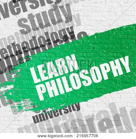 Business Education Concept: Learn Philosophy Modern Style Illustration on the Green Distressed Paintbrush Stripe. Learn Philosophy on Green Paintbrush Stripe. poster