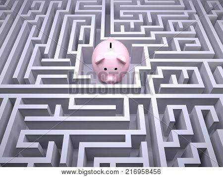 Piggy Bank Inside The Labyrinth Maze