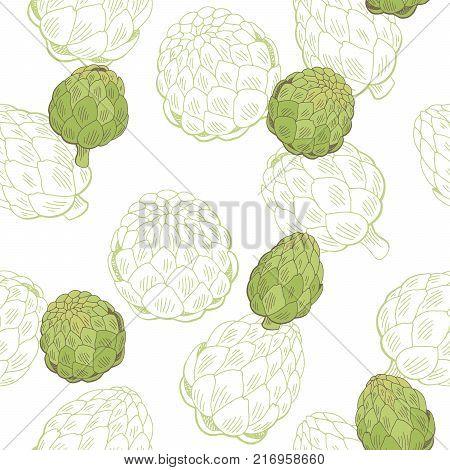 Artichoke plant graphic color seamless pattern sketch illustration vector