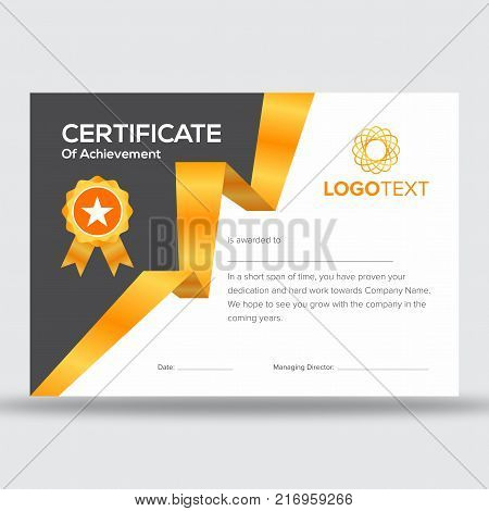 Certificate of achievement with golden and brown geometric side design with golden star badge