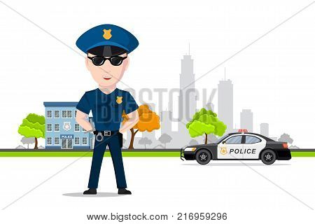 Picture of police officer in front of police car and police department building. Police service, law protection concept. Flat style illustration.