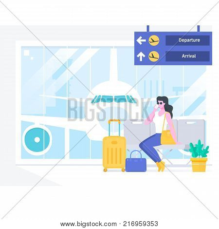 Airport passenger terminal and waiting room.Beautiful woman talking on the phonewaiting for her plane at the airport. Flat vector illustration