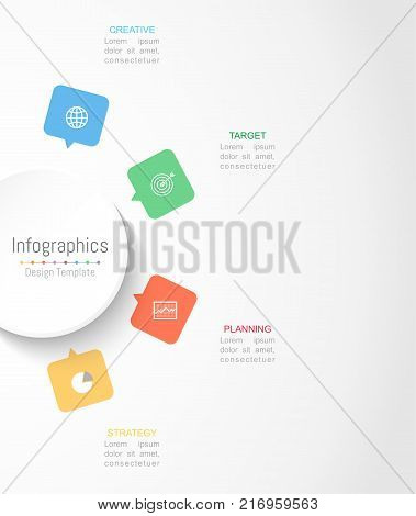 Infographic design elements for your business data with 4 options parts steps timelines or processes. Circle round concept Vector Illustration.