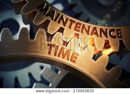 Maintenance Time on Mechanism of Golden Metallic Cogwheels. Maintenance Time on the Mechanism of Golden Metallic Gears with Lens Flare. 3D Rendering.