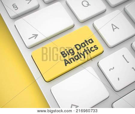 Online Service Concept with Metallic Enter Yellow Keypad on Keyboard: Big Data Analytics. Text on the Keyboard Enter Keypad, for Big Data Analytics Concept. 3D.