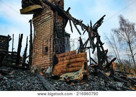 completely burned private house after the fire