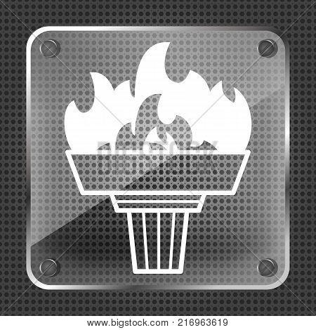 glass torch icon with flame on a metallic background