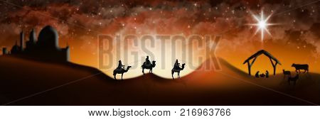 Christmas Nativity Scene Of Three Wise Men Magi Going To Meet Baby Jesus In The Manger With The City
